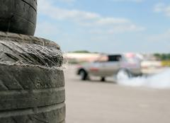 Used racing tires Stock Photos