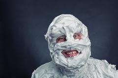 Crazy man with shaving foam on his face - stock photo
