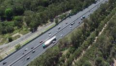 Static Aerial of vehicles on Queensland Motorway Stock Footage