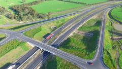 Reverse Aerial of Trucks on Hume Highway Stock Footage