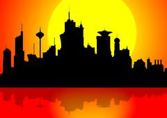Downtown cityscape at sunset - stock illustration