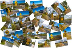 Australian road signs collage - stock photo