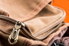 Bag with open zipper - stock photo