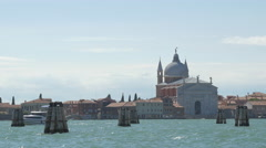 The beautiful Church of Santissimo Redentore seen on a sunny day in Venice - stock footage