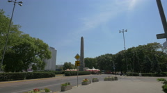 Obelisk in Parade Square and Novotel Hotel in background, Warsaw Stock Footage