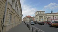 Waiting for the green light on Senatorska street, Warsaw Stock Footage