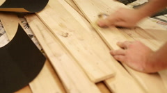 Wood abrade process with sandpaper Stock Footage