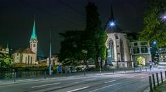 Zurich night tram 4K Stock Footage