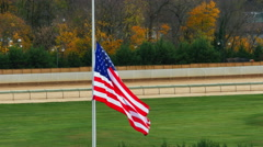 American Flag at Half Staff During Autumn, 4K Stock Footage