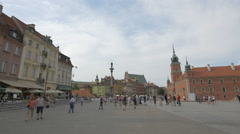 People gathered to see magic tricks in Castle Square, Warsaw Stock Footage