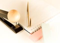 stationery set on a light background - stock photo