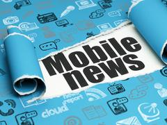 News concept: black text Mobile News under the piece of  torn paper - stock illustration