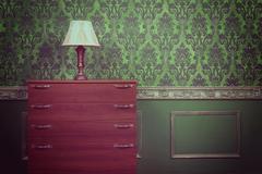 Old retro lamp in vintage interior - stock photo