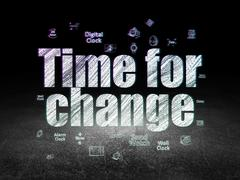Timeline concept: Time for Change in grunge dark room Stock Illustration