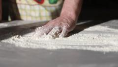 Man hands pour the flour. Baking a pie. Stock Footage