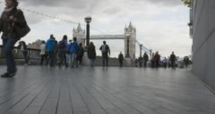 Time-lapse video of people walking on The South Bank in London Stock Footage