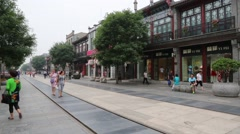 Popular Qianmen shopping Pedestrian Street is located in the old center Beijing - stock footage