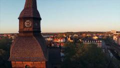 Aerial shoot of Rapid (Fors Kyrka) and Eskilstuna city rr - stock footage