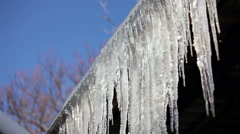 Row Of Long Melting Icicles At Thaw Time Stock Footage