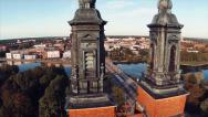 Stock Video Footage of Aerial shot of Church (Klosters kyrka) and Eskilstuna city RR