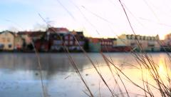 Buildings near the frozen river in Eskilstuna city, Sweden RR Stock Footage
