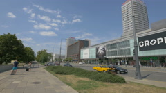 View of Wars Sawa Junior shopping center on a sunny day, Warsaw Stock Footage