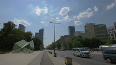 Skyscrapers and blocks of flats on Swietokrzyska street, Warsaw Stock Footage