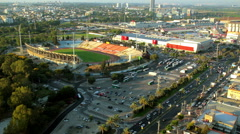 Aerial view of cityscape of Ramat Gan and Tel aviv Stock Footage