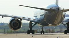 Passenger Jet Plane On The Runway Stock Footage