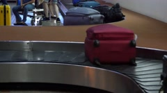 Baggage Bags Moving On Arrival Baggage Belt In Airport 4k luggage Carousel Is Fu - stock footage