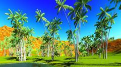 Oncosperma tigilarium - beautiful palm - stock illustration