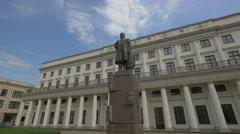 Stanislaw Moniuszko statue in Plac Teatralny, Warsaw Stock Footage
