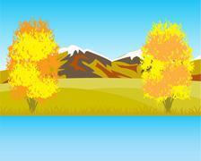 Beautiful autumn landscape - stock illustration