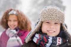 Children in the snow Stock Photos