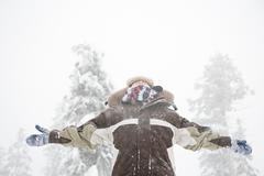 Boy in the snow Stock Photos