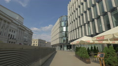Outdoor restaurant next to Regus Business Center entrance,  Warsaw Stock Footage