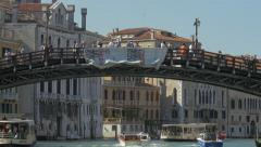 People walking on Ponte dell'Academia in Venice Stock Footage