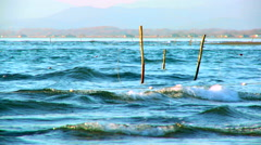 Fishing nets in the sea Stock Footage