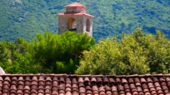 Tower of the old fortress surrounded by trees rr Stock Footage