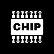 The chip icon. Microchip and microcircuit symbol. Flat - stock illustration