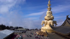 Famouse golden Bodhisattva in emei mountain,sichuan,china Stock Footage