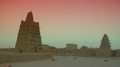 Mali Timbuktu WideShot Rooftop At Sunset Stock Footage