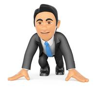 3D Businessman ready at the start of a race Stock Illustration