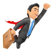 3D Super businessman flying with cape and briefcase Stock Illustration