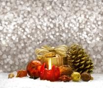 Christmas  decoration and red  Advent candle. - stock photo