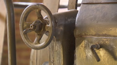 Wooden wheel of an old industrial machine Stock Footage