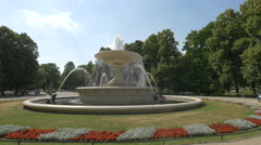 Fountain in the Saxon Garden, Warsaw Stock Footage