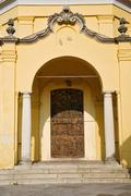 Door   in italy  lombardy   column Stock Photos