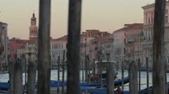 Grand Canal with the Church of San Bartolomeo and other old buildings in Venice Stock Footage