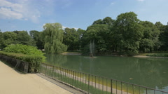 Ornamental lake in the Saxon Garden in Warsaw Stock Footage